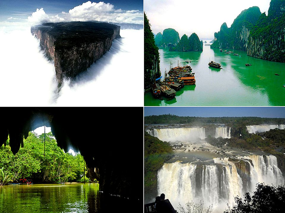 The New 7 Wonders of Nature are: South America s Amazon Rainforest Vietnam s Halong Bay Argentina s Iguazu Falls South Korea s Jeju Island Indonesia s Komodo National Park The Philippines Puerto Princesa Underground River South Africa s Table Mountain Las Nuevas 7 Maravillas de la Naturaleza son: