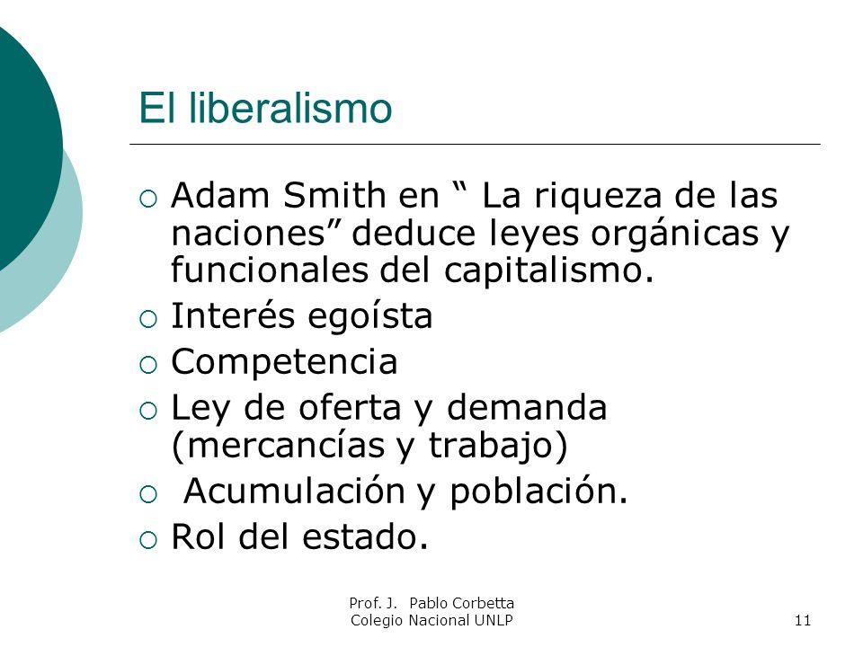 Prof. J. Pablo Corbetta Colegio Nacional UNLP11 El liberalismo Adam Smith en La riqueza de las naciones deduce leyes orgánicas y funcionales del capit