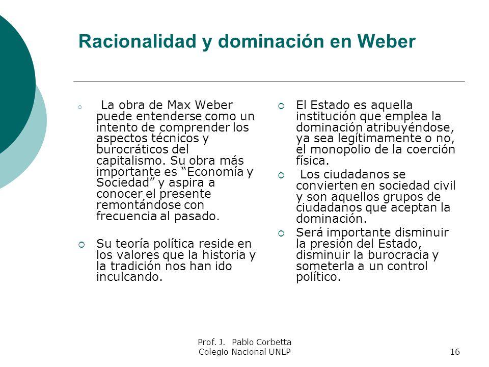 Prof. J. Pablo Corbetta Colegio Nacional UNLP16 Racionalidad y dominación en Weber La obra de Max Weber puede entenderse como un intento de comprender