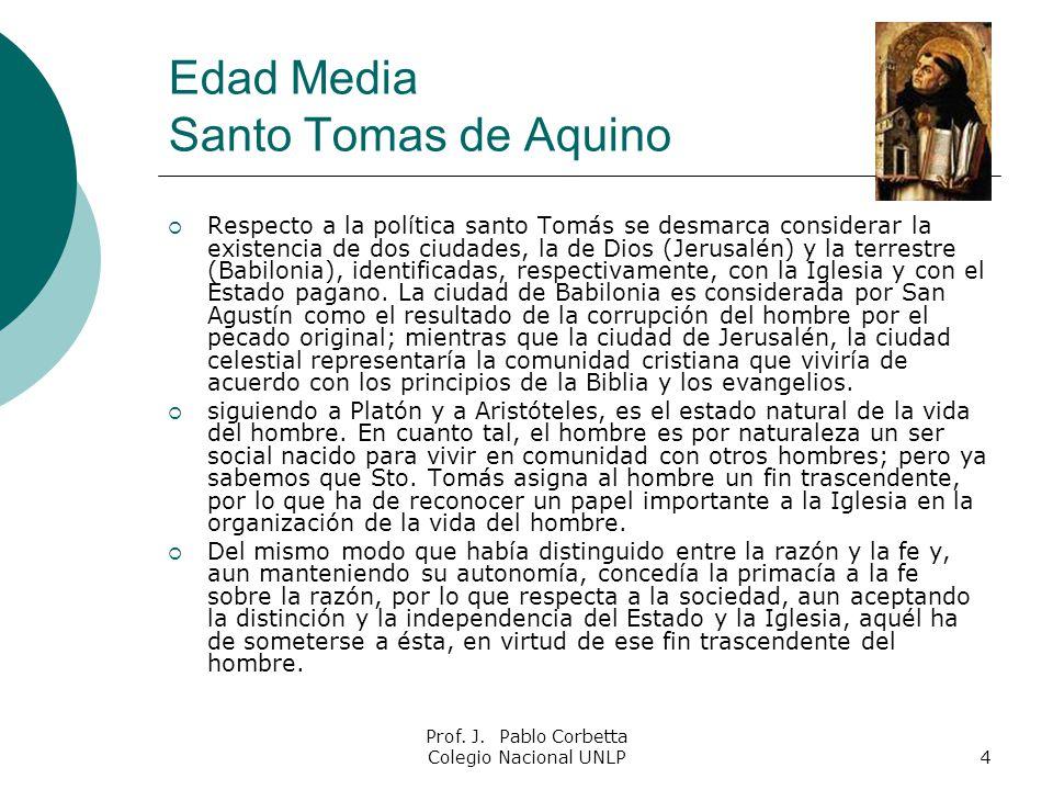 Prof. J. Pablo Corbetta Colegio Nacional UNLP4 Edad Media Santo Tomas de Aquino Respecto a la política santo Tomás se desmarca considerar la existenci