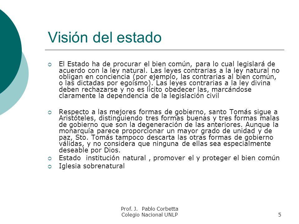 Prof. J. Pablo Corbetta Colegio Nacional UNLP5 Visión del estado El Estado ha de procurar el bien común, para lo cual legislará de acuerdo con la ley