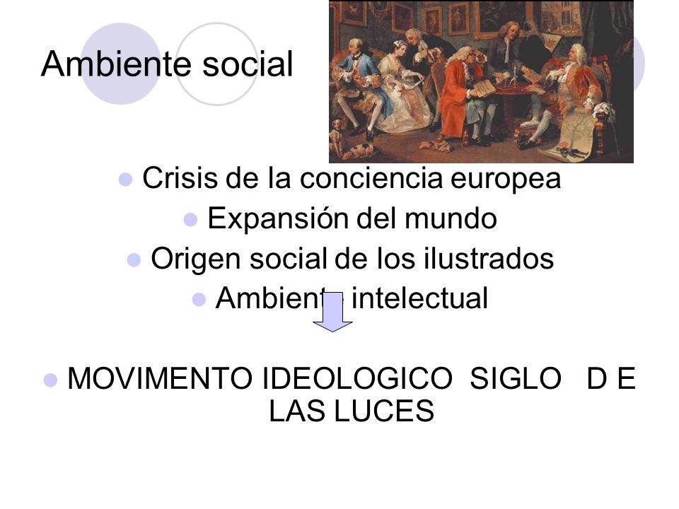 Ambiente social Crisis de la conciencia europea Expansión del mundo Origen social de los ilustrados Ambiente intelectual MOVIMENTO IDEOLOGICO SIGLO D E LAS LUCES