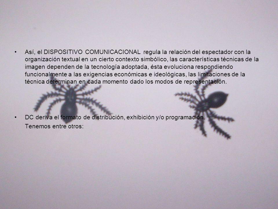 Así, el DISPOSITIVO COMUNICACIONAL regula la relación del espectador con la organización textual en un cierto contexto simbólico, las características