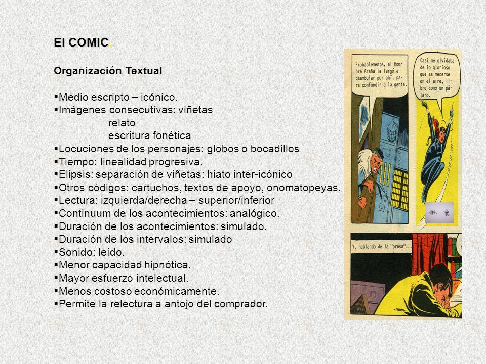 El COMIC. Organización Textual Medio escripto – icónico. Imágenes consecutivas: viñetas relato escritura fonética Locuciones de los personajes: globos