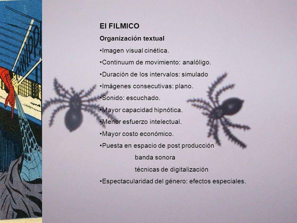 El FILMICO Organización textual Imagen visual cinética. Continuum de movimiento: analóligo. Duración de los intervalos: simulado Imágenes consecutivas