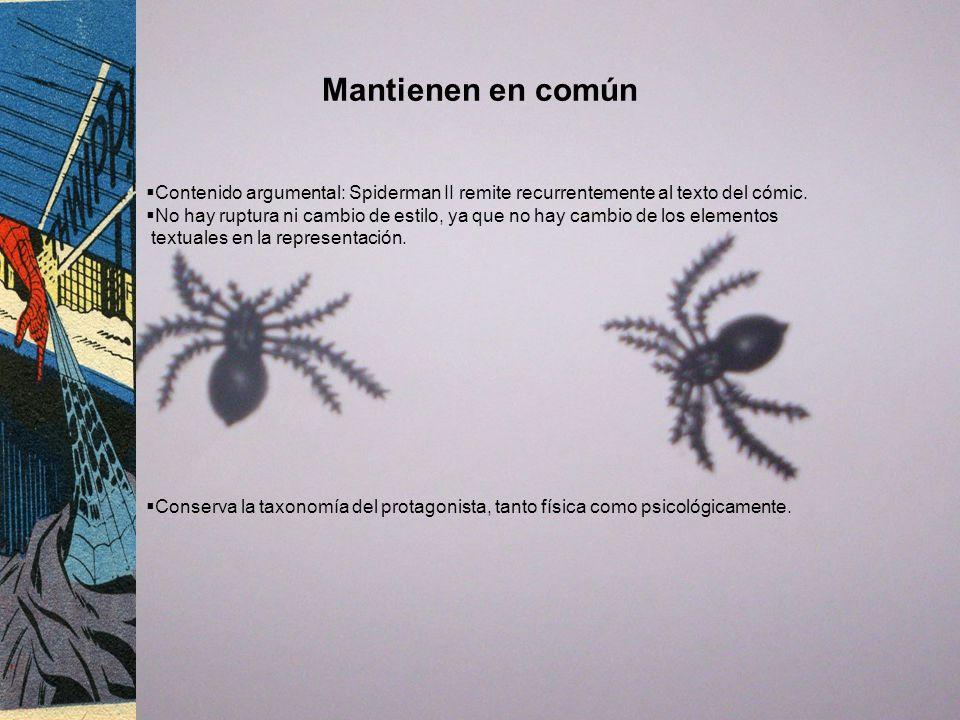 Mantienen en común Contenido argumental: Spiderman II remite recurrentemente al texto del cómic. No hay ruptura ni cambio de estilo, ya que no hay cam