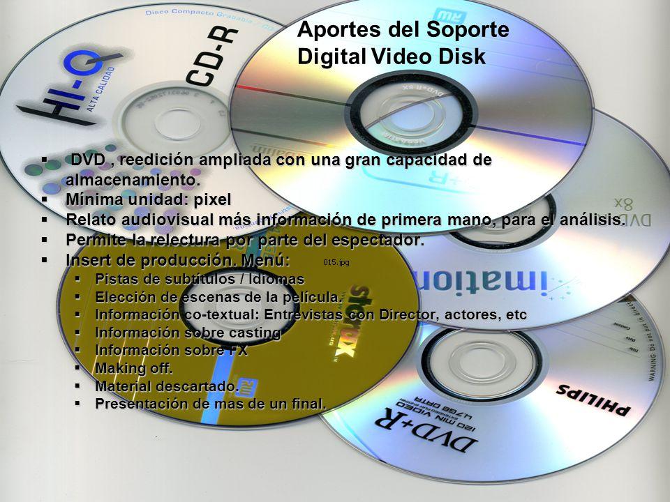 DVD, reedición ampliada con una gran capacidad de almacenamiento. DVD, reedición ampliada con una gran capacidad de almacenamiento. Mínima unidad: pix