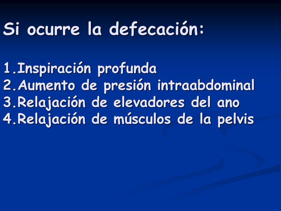 Si ocurre la defecación: 1.Inspiración profunda 2.Aumento de presión intraabdominal 3.Relajación de elevadores del ano 4.Relajación de músculos de la