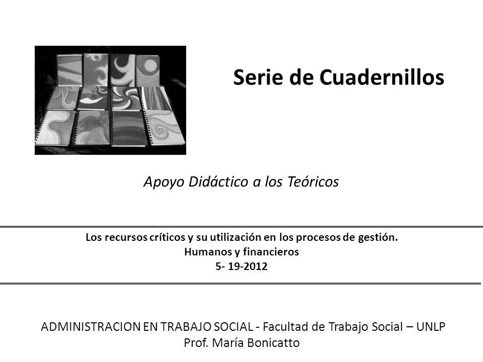 Serie de Cuadernillos Apoyo Didáctico a los Teóricos Los recursos críticos y su utilización en los procesos de gestión.