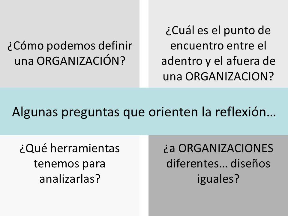 ¿Qué herramientas tenemos para analizarlas.¿Cómo podemos definir una ORGANIZACIÓN.