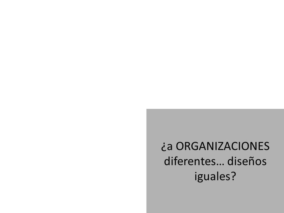 ¿a ORGANIZACIONES diferentes… diseños iguales?