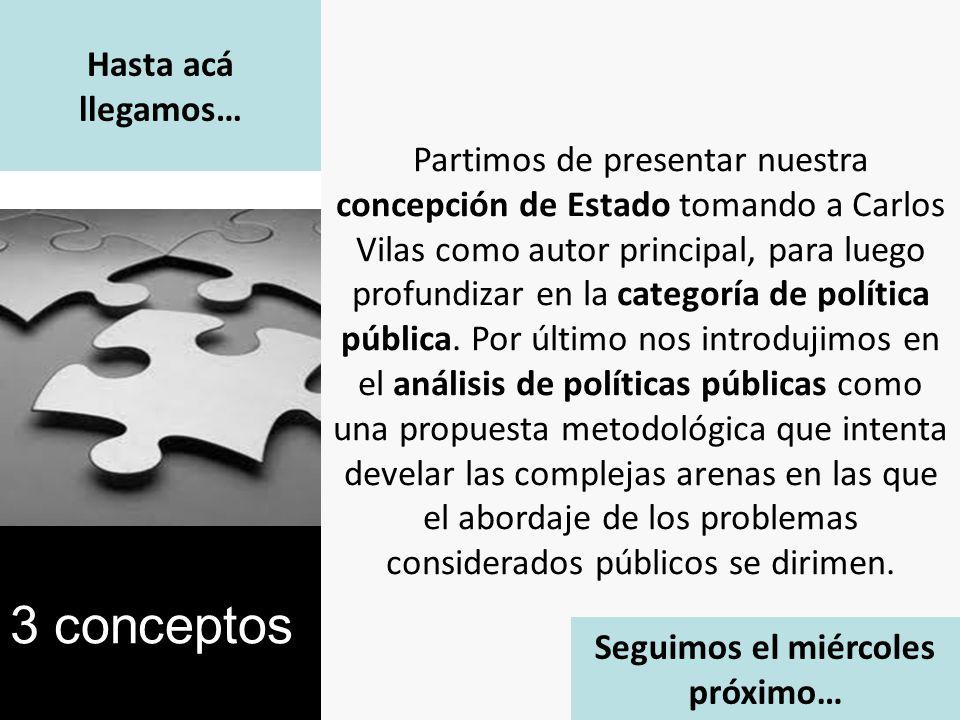 Hasta acá llegamos… Partimos de presentar nuestra concepción de Estado tomando a Carlos Vilas como autor principal, para luego profundizar en la categoría de política pública.