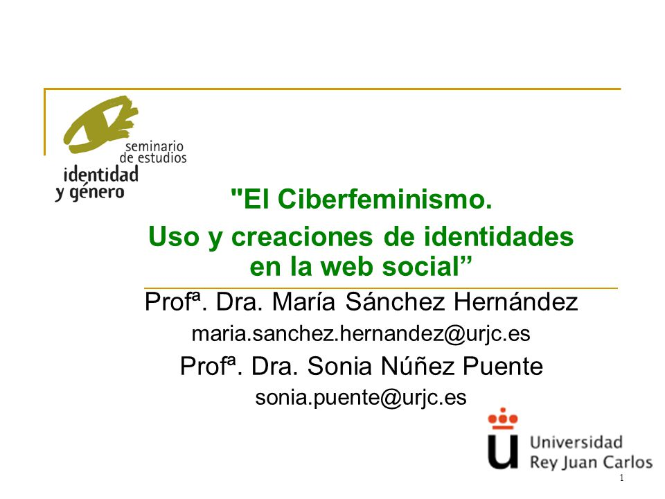 1 El Ciberfeminismo.Uso y creaciones de identidades en la web social Profª.