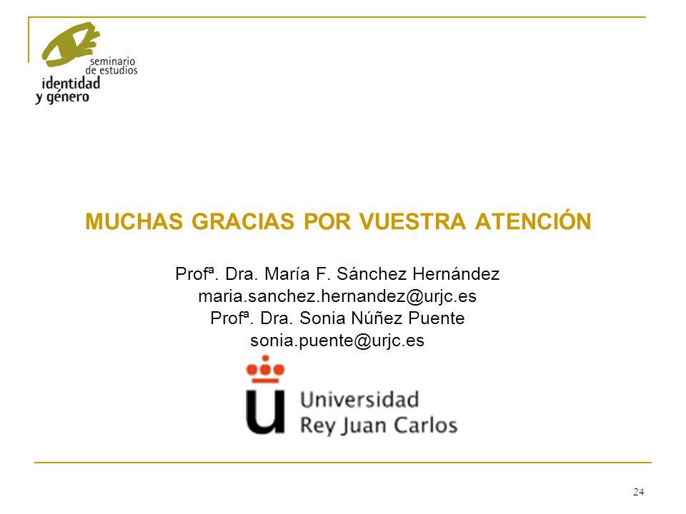 24 MUCHAS GRACIAS POR VUESTRA ATENCIÓN Profª. Dra. María F. Sánchez Hernández maria.sanchez.hernandez@urjc.es Profª. Dra. Sonia Núñez Puente sonia.pue