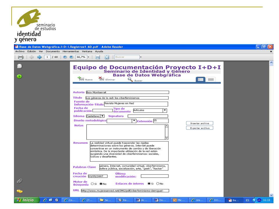 16 ELABORACIÓN DE UNA PÁGINA WEB SOBRE CIBERFEMINISMO.