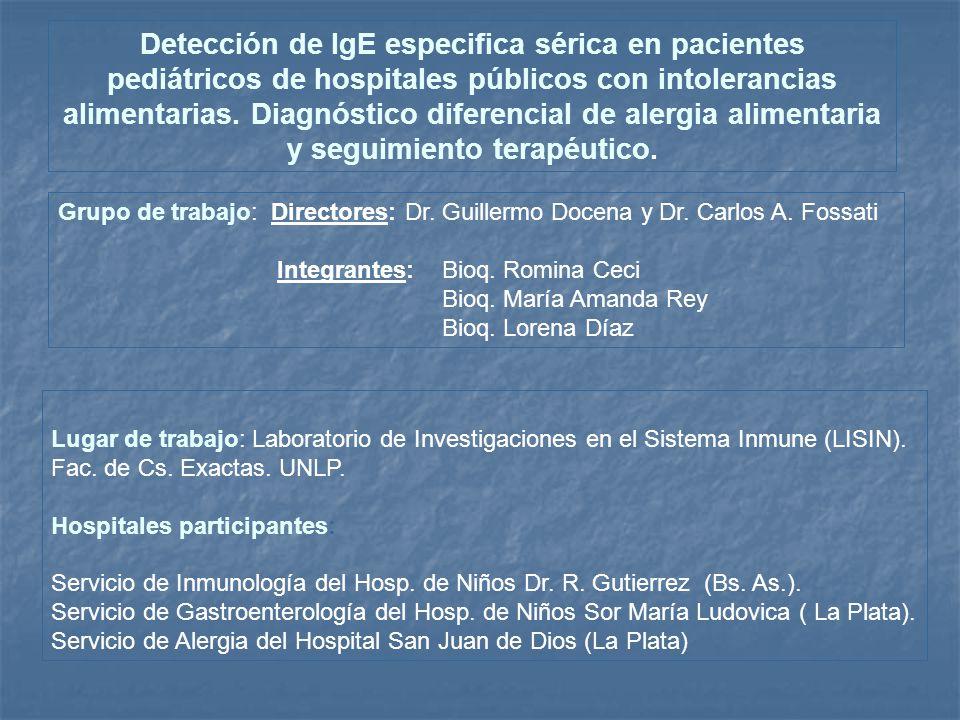 Detección de IgE especifica sérica en pacientes pediátricos de hospitales públicos con intolerancias alimentarias. Diagnóstico diferencial de alergia