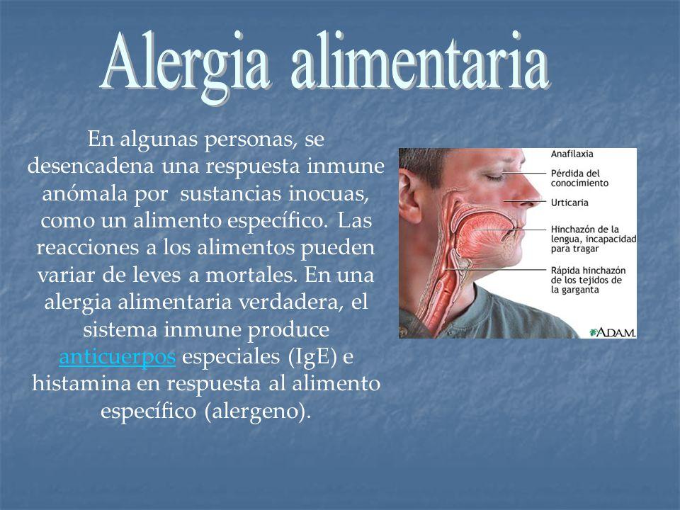 En algunas personas, se desencadena una respuesta inmune anómala por sustancias inocuas, como un alimento específico. Las reacciones a los alimentos p