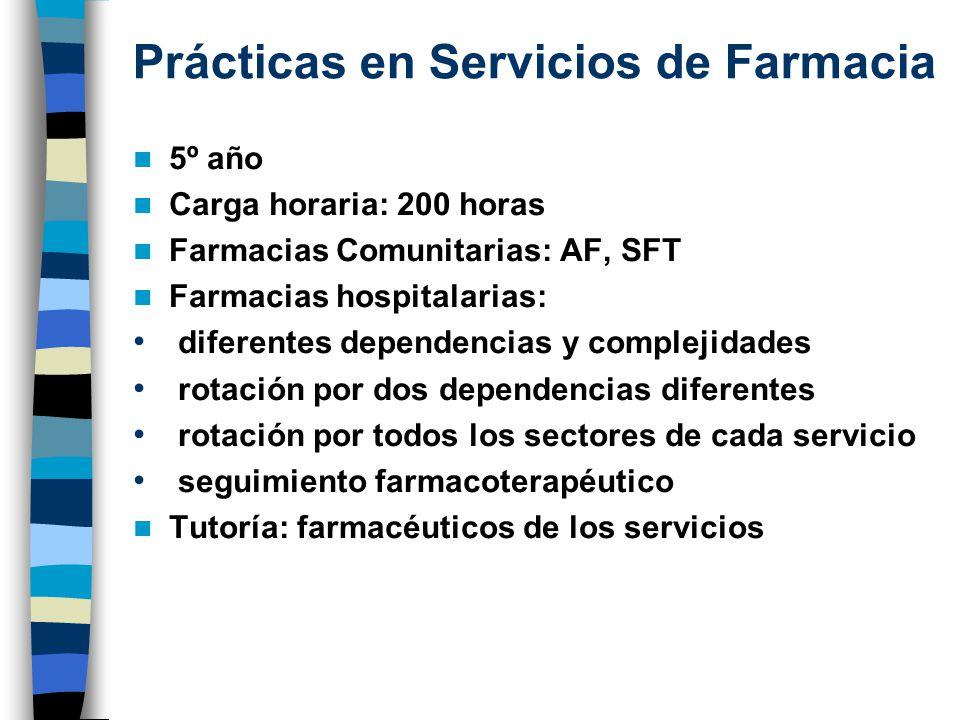Prácticas en Servicios de Farmacia 5º año Carga horaria: 200 horas Farmacias Comunitarias: AF, SFT Farmacias hospitalarias: diferentes dependencias y