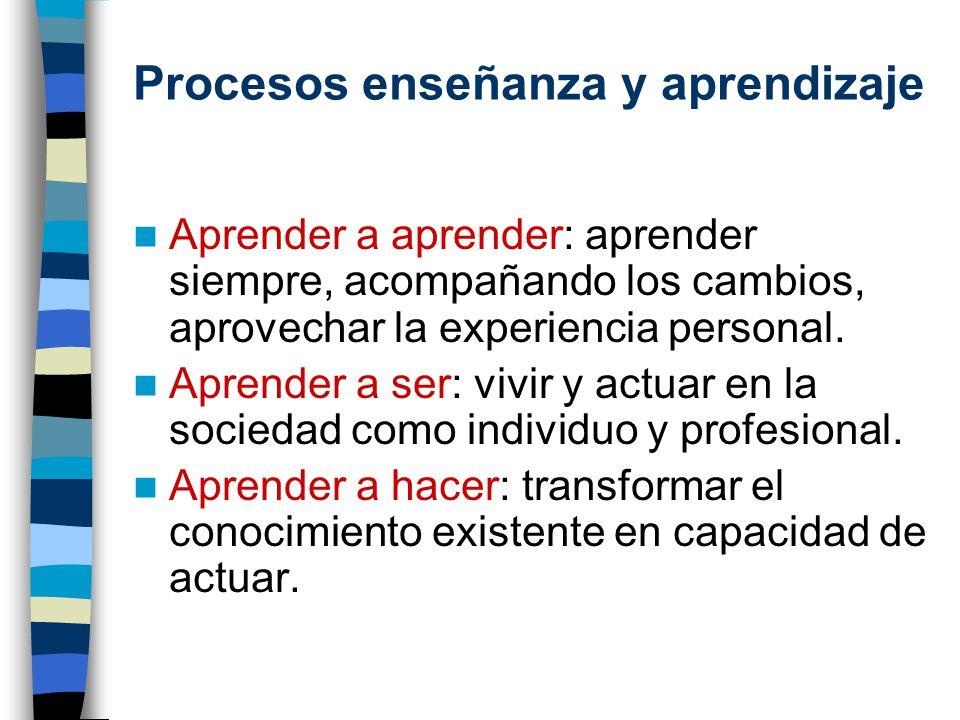 Procesos enseñanza y aprendizaje Aprender a aprender: aprender siempre, acompañando los cambios, aprovechar la experiencia personal. Aprender a ser: v