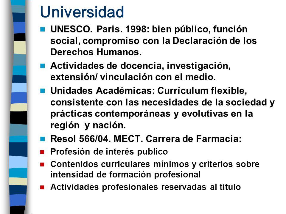 Universidad UNESCO. Paris. 1998: bien público, función social, compromiso con la Declaración de los Derechos Humanos. Actividades de docencia, investi