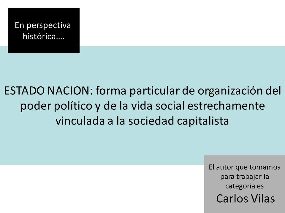 ESTADO NACION: forma particular de organización del poder político y de la vida social estrechamente vinculada a la sociedad capitalista En perspectiva histórica….