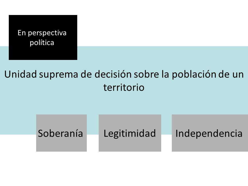 Unidad suprema de decisión sobre la población de un territorio En perspectiva política SoberaníaLegitimidad Independencia