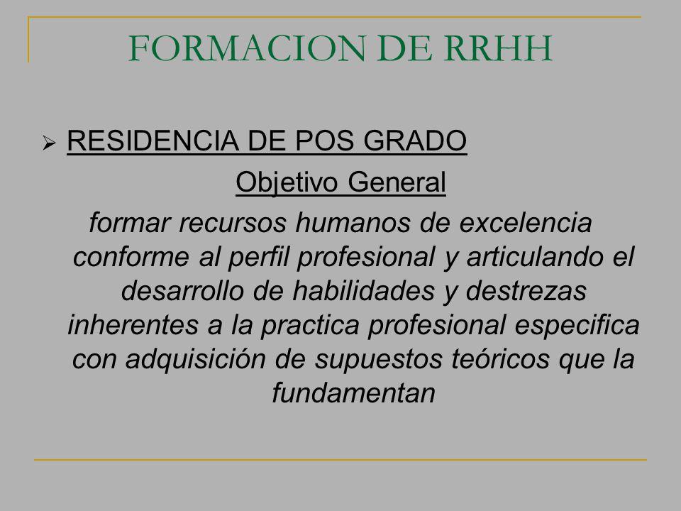 FORMACION DE RRHH RESIDENCIA DE POS GRADO Objetivo General formar recursos humanos de excelencia conforme al perfil profesional y articulando el desar