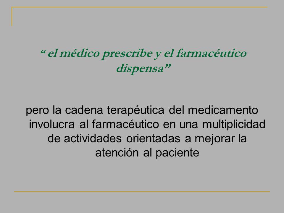 el médico prescribe y el farmacéutico dispensa pero la cadena terapéutica del medicamento involucra al farmacéutico en una multiplicidad de actividade