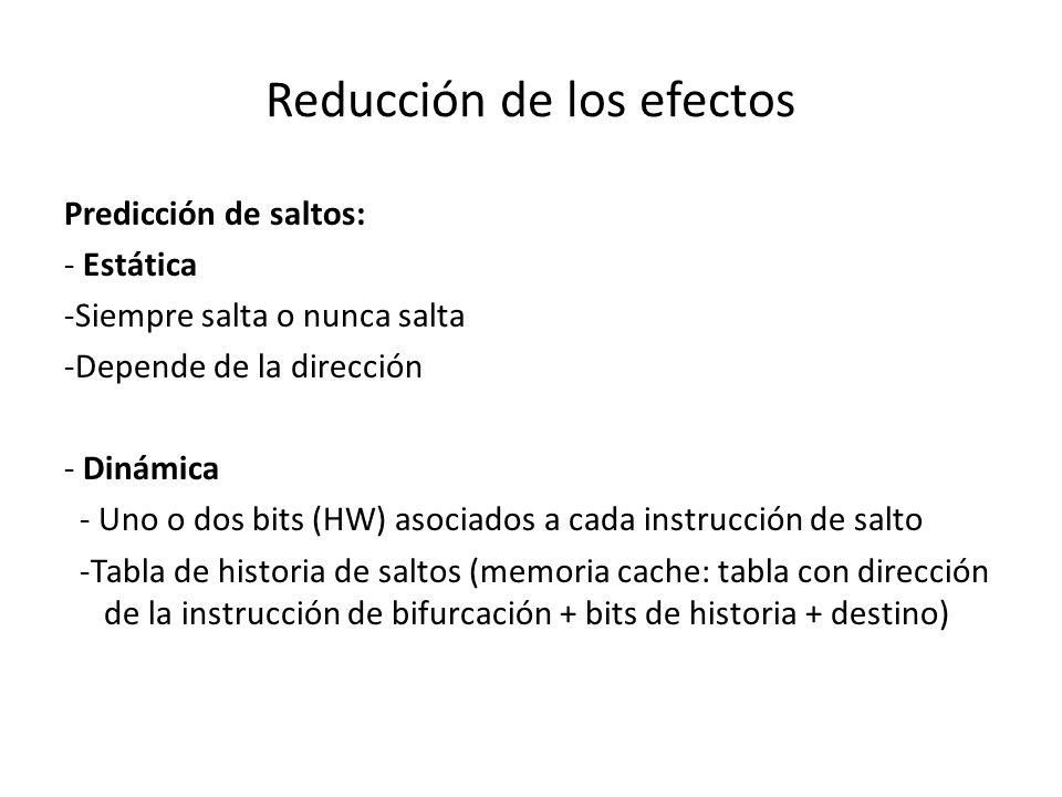 Reducción de los efectos Predicción de saltos: - Estática -Siempre salta o nunca salta -Depende de la dirección - Dinámica - Uno o dos bits (HW) asoci