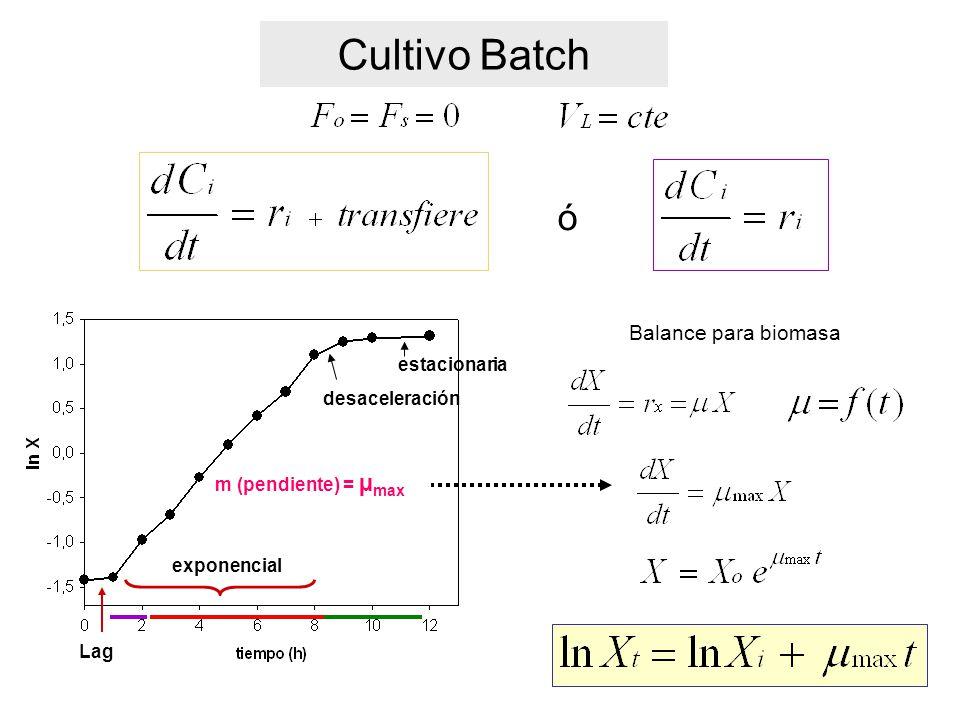 Cultivo Batch ó Balance para biomasa Lag exponencial desaceleración estacionaria m (pendiente) = µ max