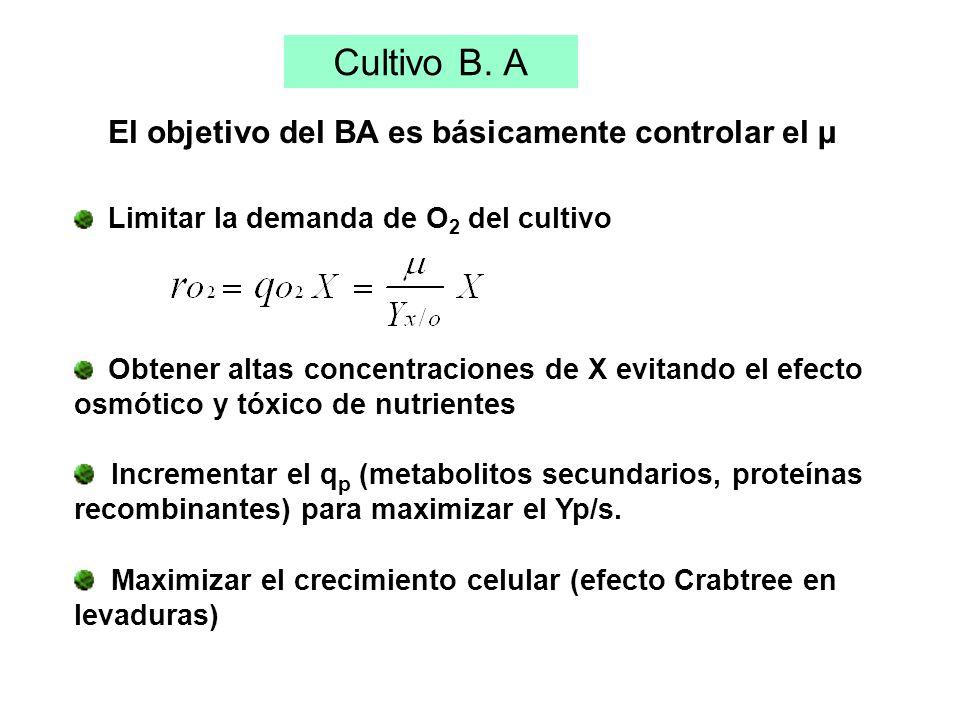 El objetivo del BA es básicamente controlar el µ Limitar la demanda de O 2 del cultivo Obtener altas concentraciones de X evitando el efecto osmótico y tóxico de nutrientes Incrementar el q p (metabolitos secundarios, proteínas recombinantes) para maximizar el Yp/s.