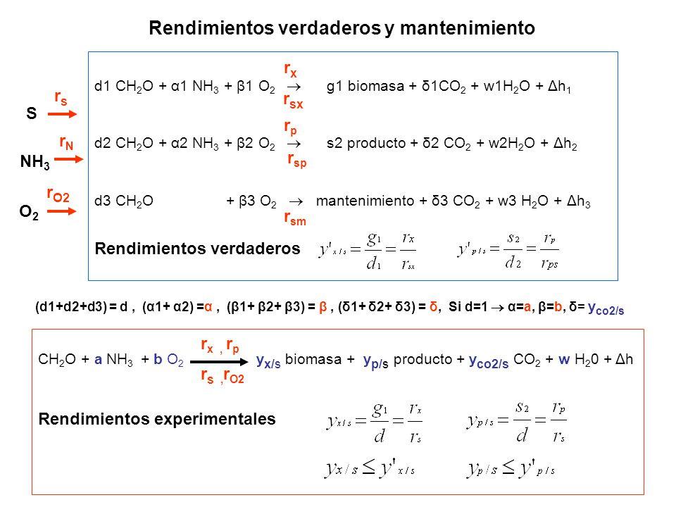 Rendimientos verdaderos y mantenimiento d1 CH 2 O + α1 NH 3 + β1 O 2 g1 biomasa + δ1CO 2 + w1H 2 O + Δh 1 d2 CH 2 O + α2 NH 3 + β2 O 2 s2 producto + δ2 CO 2 + w2H 2 O + Δh 2 d3 CH 2 O + β3 O 2 mantenimiento + δ3 CO 2 + w3 H 2 O + Δh 3 Rendimientos verdaderos (d1+d2+d3) = d, (α1+ α2) =α, (β1+ β2+ β3) = β, (δ1+ δ2+ δ3) = δ, Si d=1 α=a, β=b, δ= y co2/s CH 2 O + a NH 3 + b O 2 y x/s biomasa + y p/s producto + y co2/s CO 2 + w H 2 0 + Δh Rendimientos experimentales rxrx r sx rprp r sp r sm r s, r O2 r x, r p rsrs S NH 3 O2O2 rNrN r O2