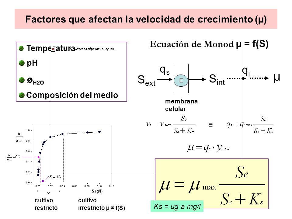 Crecimiento de Saccharomyces cereviseae Efecto de µ y el sustrato limitante en la fisiología microbiana El metabolismo de S cereviseae es netamente oxidativo hasta una µ de 0.2-0.25 h -1.