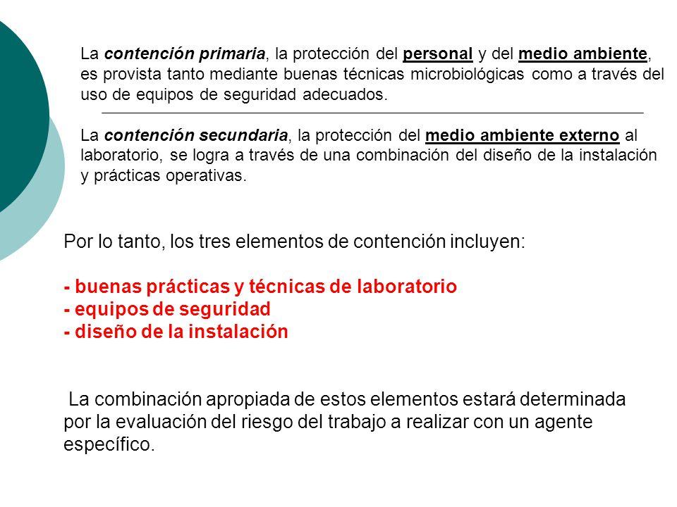 Por lo tanto, los tres elementos de contención incluyen: - buenas prácticas y técnicas de laboratorio - equipos de seguridad - diseño de la instalació