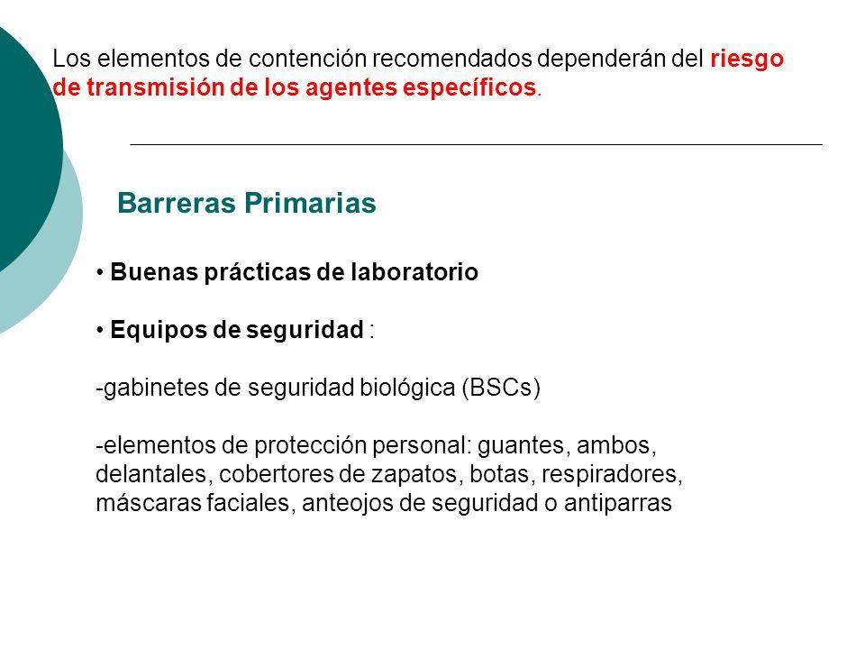 Los elementos de contención recomendados dependerán del riesgo de transmisión de los agentes específicos. Barreras Primarias Buenas prácticas de labor