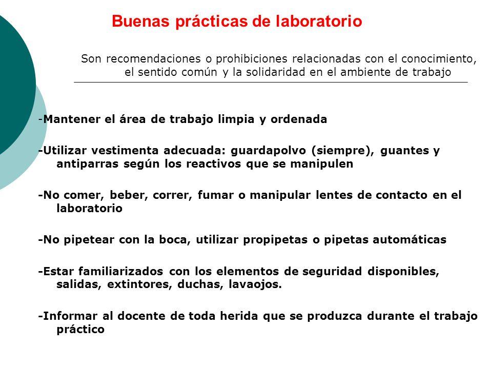 Buenas prácticas de laboratorio Son recomendaciones o prohibiciones relacionadas con el conocimiento, el sentido común y la solidaridad en el ambiente