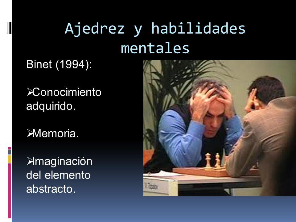 Ajedrez y habilidades mentales Binet (1994): Conocimiento adquirido.