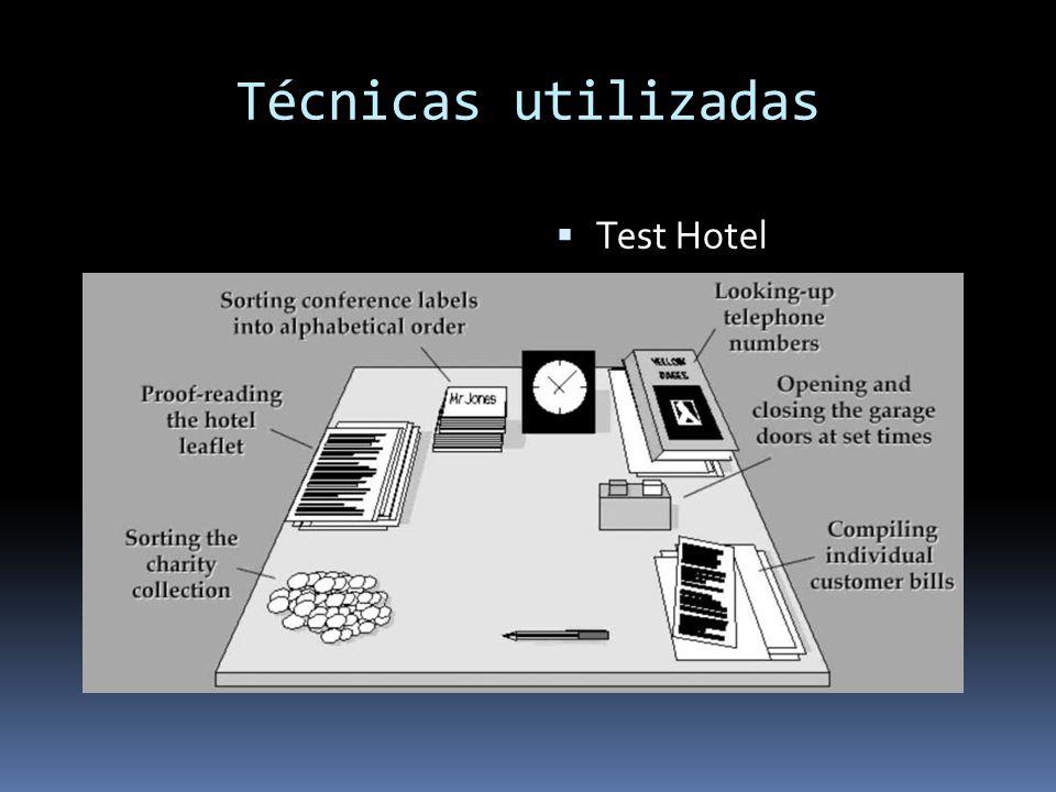 Técnicas utilizadas Test Hotel