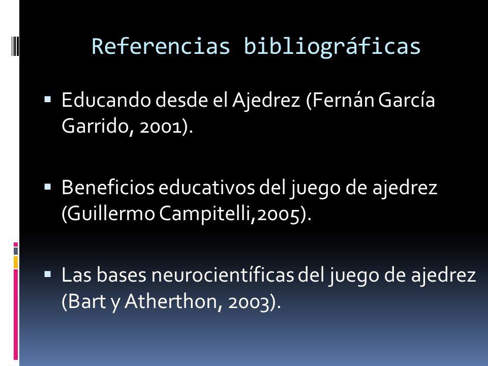 Referencias bibliográficas Educando desde el Ajedrez (Fernán García Garrido, 2001).
