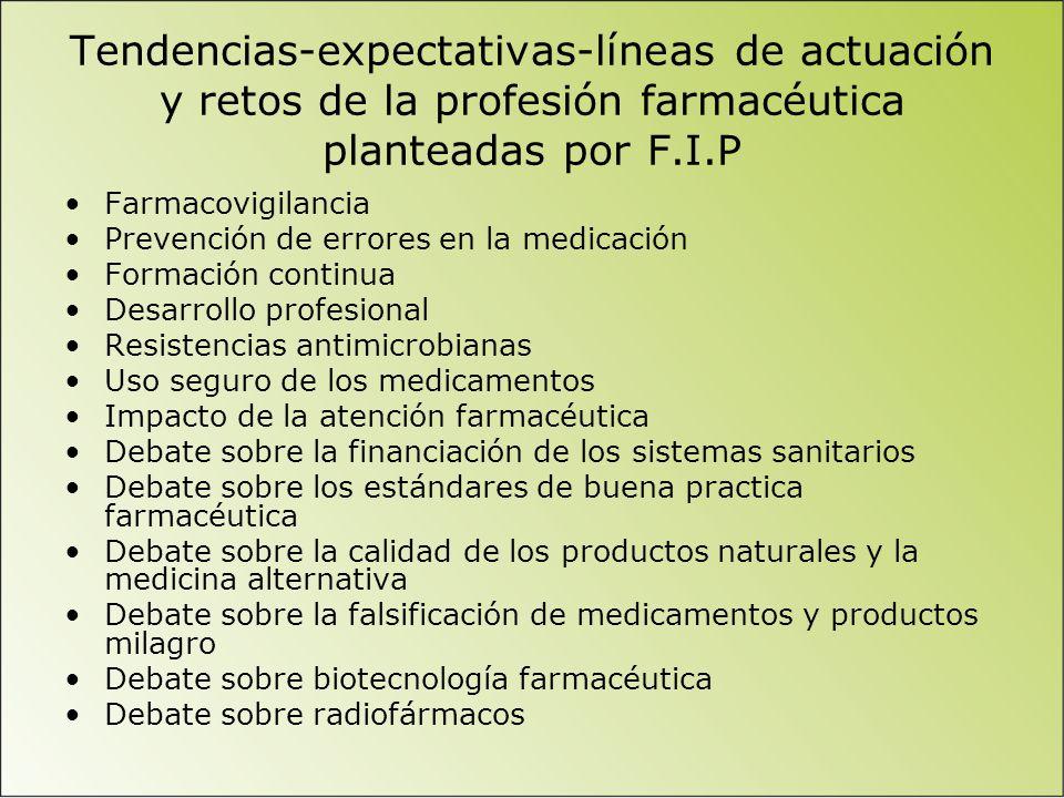 Tendencias-expectativas-líneas de actuación y retos de la profesión farmacéutica planteadas por F.I.P Farmacovigilancia Prevención de errores en la me