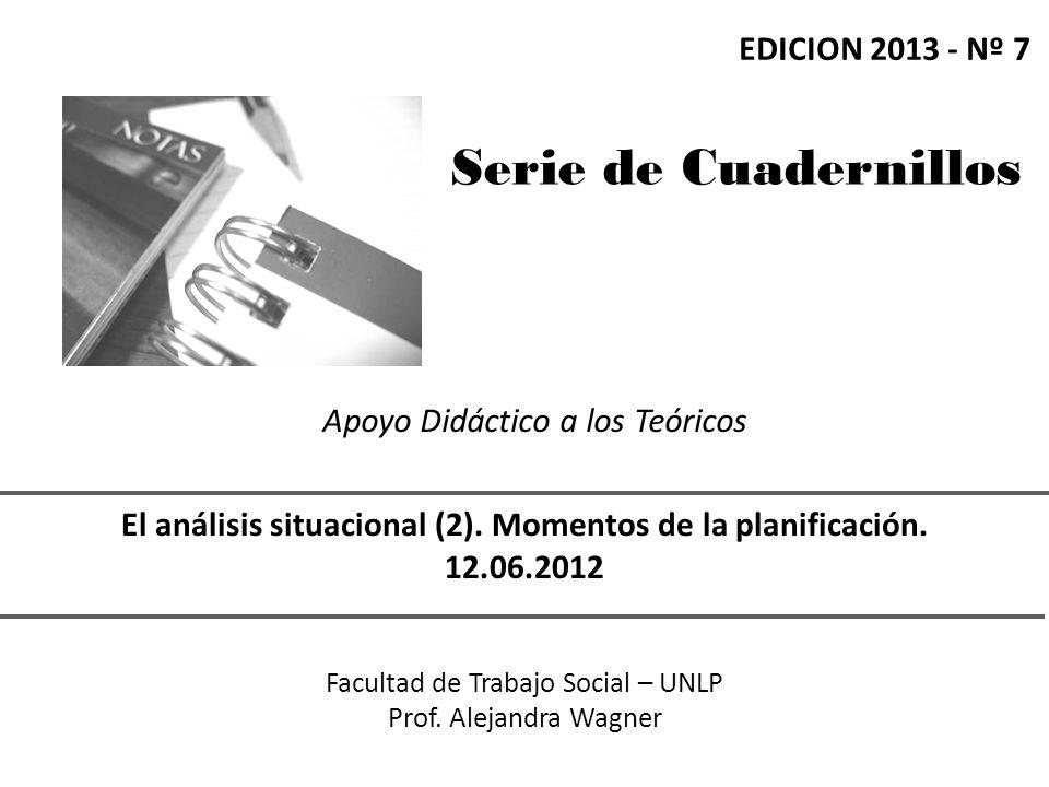 Serie de Cuadernillos Apoyo Didáctico a los Teóricos El análisis situacional (2).