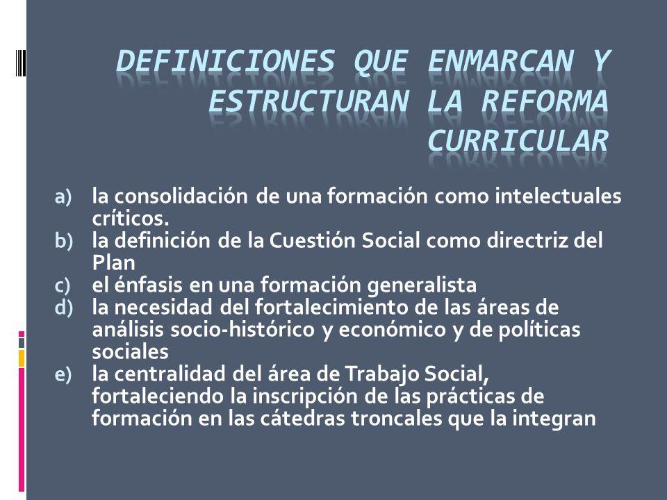 a) la consolidación de una formación como intelectuales críticos. b) la definición de la Cuestión Social como directriz del Plan c) el énfasis en una