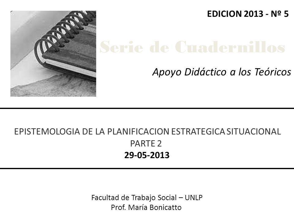 Apoyo Didáctico a los Teóricos Facultad de Trabajo Social – UNLP Prof. María Bonicatto EPISTEMOLOGIA DE LA PLANIFICACION ESTRATEGICA SITUACIONAL PARTE