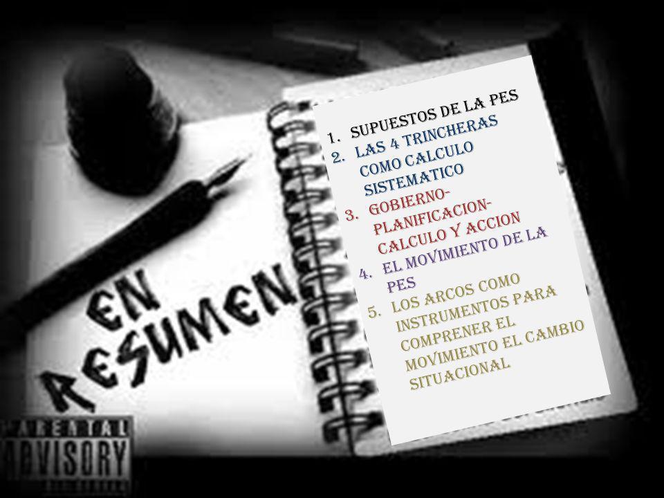 1.SUPUESTOS DE LA PES 2.LAS 4 TRINCHERAS COMO CALCULO SISTEMATICO 3.GOBIERNO- PLANIFICACION- CALCULO Y ACCION 4.EL MOVIMIENTO DE LA PES 5.LOS ARCOS COMO INSTRUMENTOS PARA COMPRENER EL MOVIMIENTO EL CAMBIO SITUACIONAL