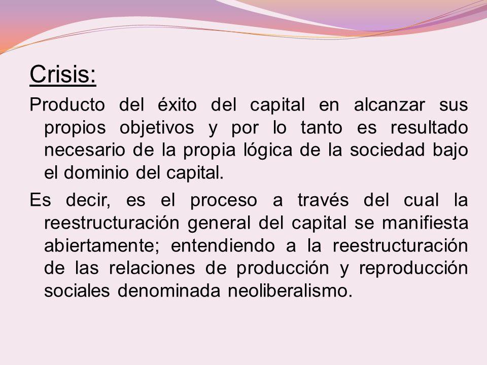 Crisis: Producto del éxito del capital en alcanzar sus propios objetivos y por lo tanto es resultado necesario de la propia lógica de la sociedad bajo el dominio del capital.