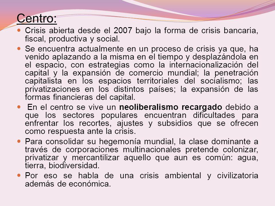 Centro: Crisis abierta desde el 2007 bajo la forma de crisis bancaria, fiscal, productiva y social. Se encuentra actualmente en un proceso de crisis y