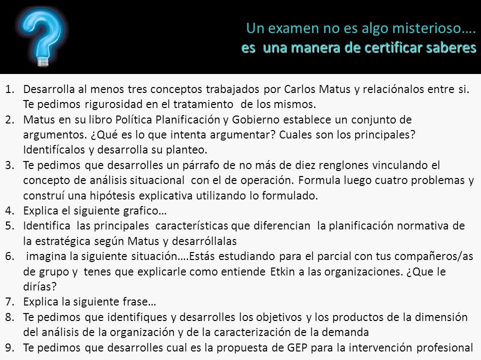 1.Desarrolla al menos tres conceptos trabajados por Carlos Matus y relaciónalos entre si.
