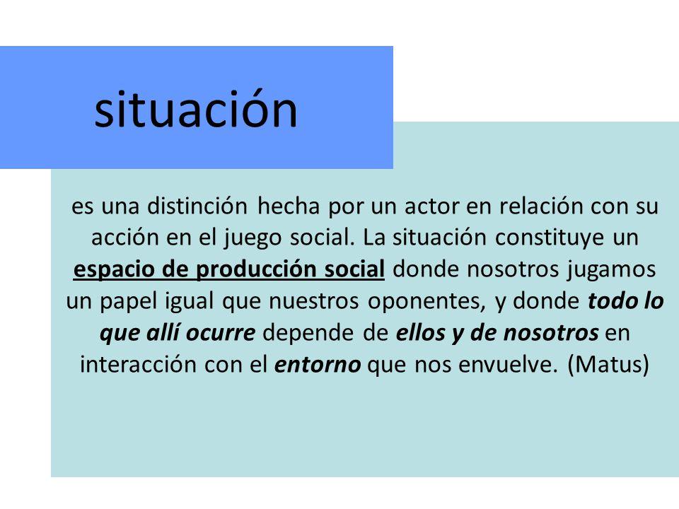 es una distinción hecha por un actor en relación con su acción en el juego social.