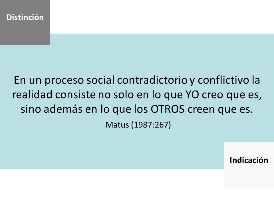 En un proceso social contradictorio y conflictivo la realidad consiste no solo en lo que YO creo que es, sino además en lo que los OTROS creen que es.