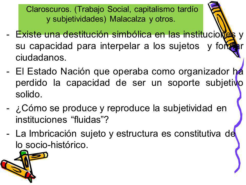 Claroscuros. (Trabajo Social, capitalismo tardío y subjetividades) Malacalza y otros. -Existe una destitución simbólica en las instituciones y su capa